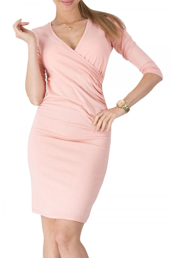 Fashion Half Sleeve Deep-V Body-con Dress