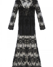 Fabulous Solid Black V Back Lace Paneled Mermaid Maxi Dress