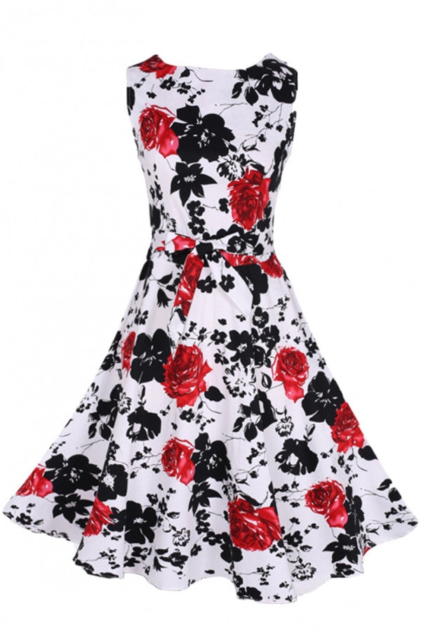 Charming Floral Printed Pleated Woman Dress