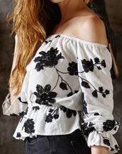 Black Floral Pattern Off-the-Shoulder Blouse