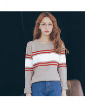 Chic Stripe Color Block Long Sleeve Knitted Pullover Sweater