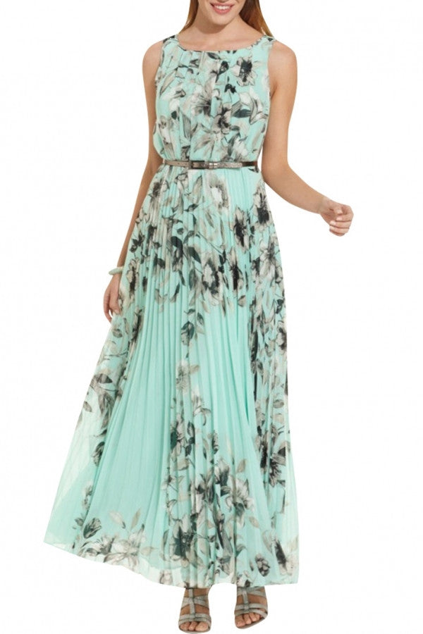 Fashion Floral Printed Pleated Maxi Dress
