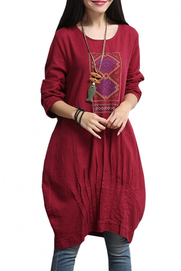 Embroidery Loose Fit Oversized Plus Size Linen Dress