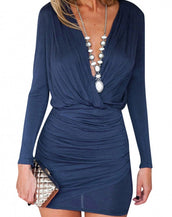 Fashion Deep V Gathered Body-con Dress