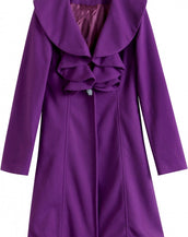 Elegant Flouncing Collar One-buttoned Coat