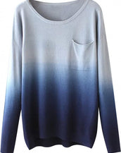 Fashion Gradient Ramp Pullover Sweater
