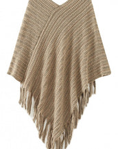 Chic Fringed Ribbed Knit Poncho