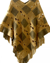 Chic Plaid Hollow Out Tasseled Poncho
