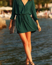 Chic Deep V Elastic Waist Dress