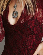 Charming V Neck Mini Lace Dress