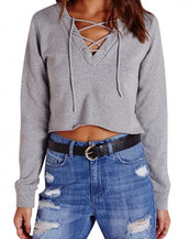 Chic Lace-up Front Crop Top