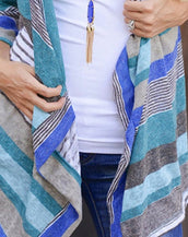 Chic Color Block Striped Cardigan