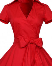 Chic Stand Collar Bow Waist A-line Dress