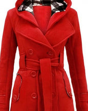 Fashion Simple Color Double-Breasted Belt Decoration Hooded Coat