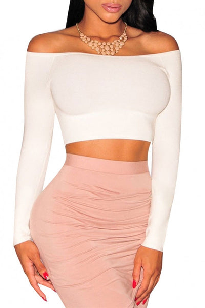 Fashion White Off-The-Shoulder Knit Crop Top