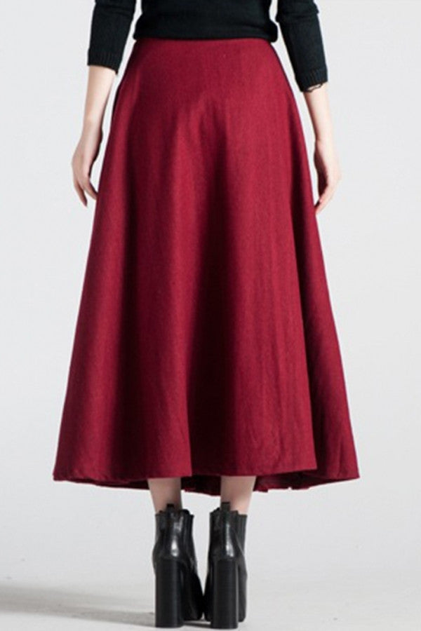 Elegant Solid High Waist Pleated A-Line Maxi Skirt