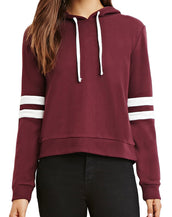Color Block Stripe Drawstring Knit Hooded Sweatshirt