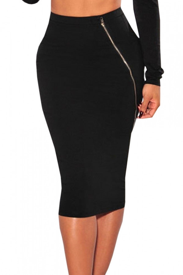 Faddish Black Silver Zipper Accent Knee Length Skirt