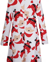 Christmas Santa Claus Pattern Round Neck A-line Dress