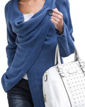 Casual Soft Knit Long Sleeve One-Button Wrap Cardigan