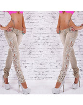Fashion Hollow Out Lace Paneled Skinny Pants