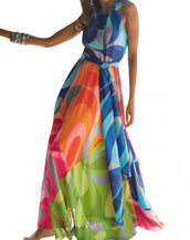 Colorful Print Halter Belted Maxi Chiffon Dress