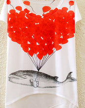Casual Whale Print Cap Sleeve High Low Tee