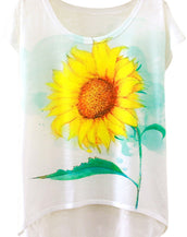 Fashion Sunflower Graphic Cap Sleeve Loose Fit Tee