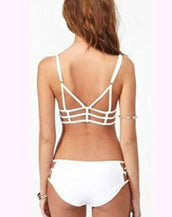 Caged Solid Bandeau Bikini Sets Sexy Women Cutout Swimwear