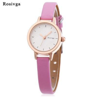 Rosivga 260 - 1 Ladies Quartz Square Leather Band Wristwatch - ClickWear