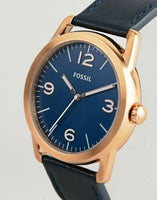 Fossil BQ2306 Men's Ledger Rose Gold And Navy Blue Wristwatch