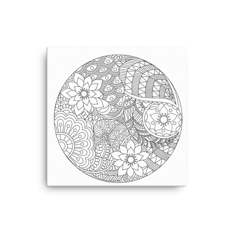 Doodle - Color in mandala Canvas