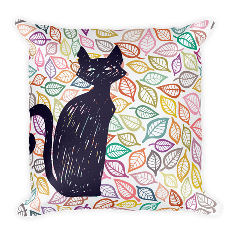 Leaves and Cat - Square Pillow