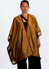 Anene Antique Gold Kimono with Bordeaux Trim