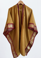 Ethical Fashion Brand Anene Antique Gold Kimono with Bordeaux Trim