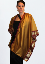 Conscious Fashion Label Anene Antique Gold Kimono with Bordeaux Trim