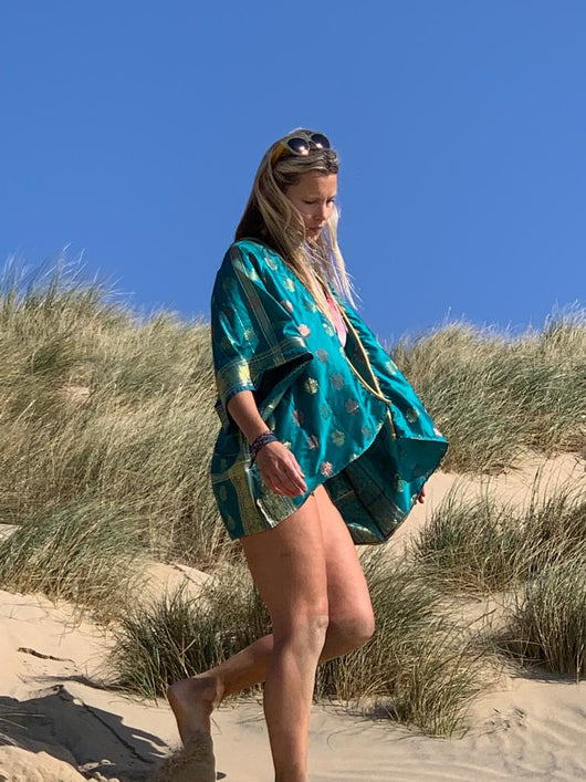 Onewarriorwomama wearing Anene Luxury Fashion Kimono Top in Turquoise