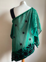 Asymmetric Green & Black Top M/L