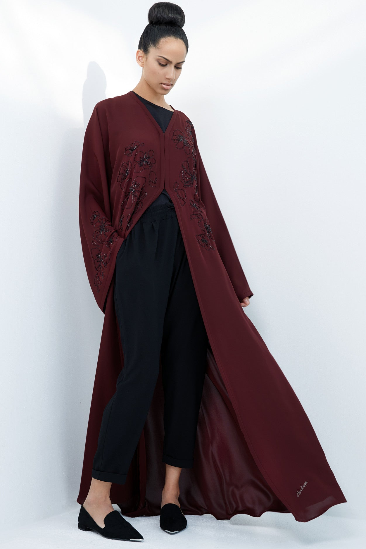 MARIELLE - ACR1915A - Arabesque kimono cut abaya with flower motif beads embroidery on front and one sleeve only.