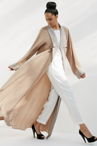 GISELLE - AMM1891D - Arabesque bi-color coat style abaya with contrasting collar and cuffs.