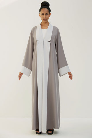 FRANCESCA - AMM1891E - Arabesque bi-color coat style abaya with contrasting collar and cuffs.