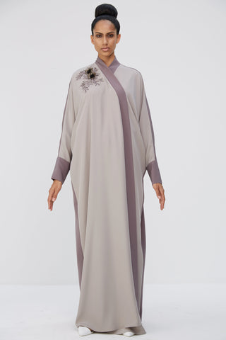 VIVIENNE  - ACR1913Z - Arabesque signature wrap abaya with asymmetrical flower bouquet , hand embroidery with leather flowers.