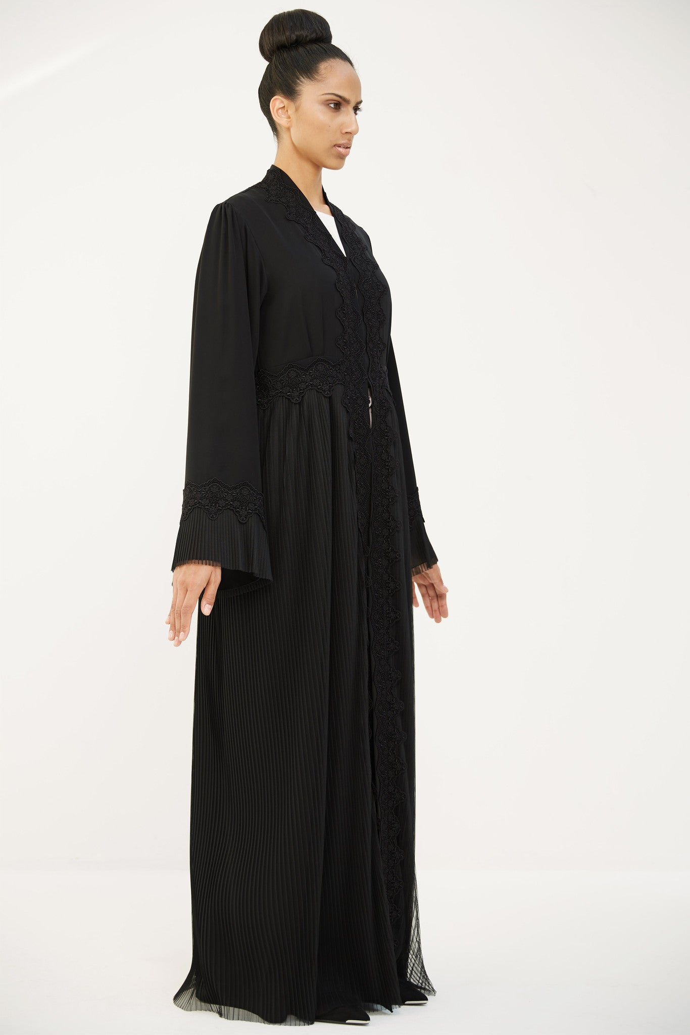 CLARISSE - ACR1907B - Arabesque dress style abaya with pleated tulle skirt. In combination with French guipure on front, belt and sleeves.