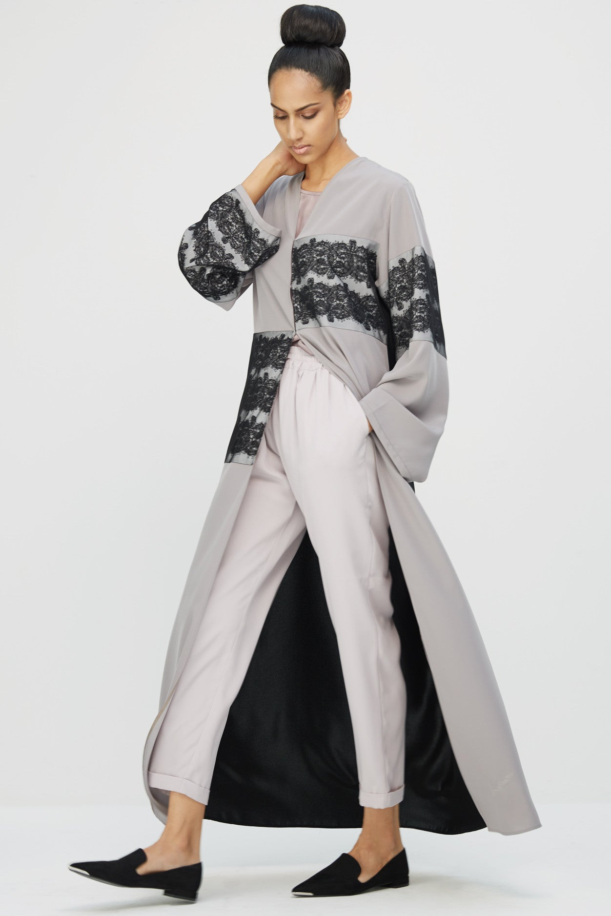 VERONIQUE  - ACR1899Z - Arabesque classic cut abaya with multiple lines of graphic lace  on front body and sleeves.