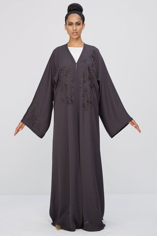 DELPHINE - ACR1915Z - Arabesque kimono cut abaya with flower motif beads embroidery on front and one sleeve only.