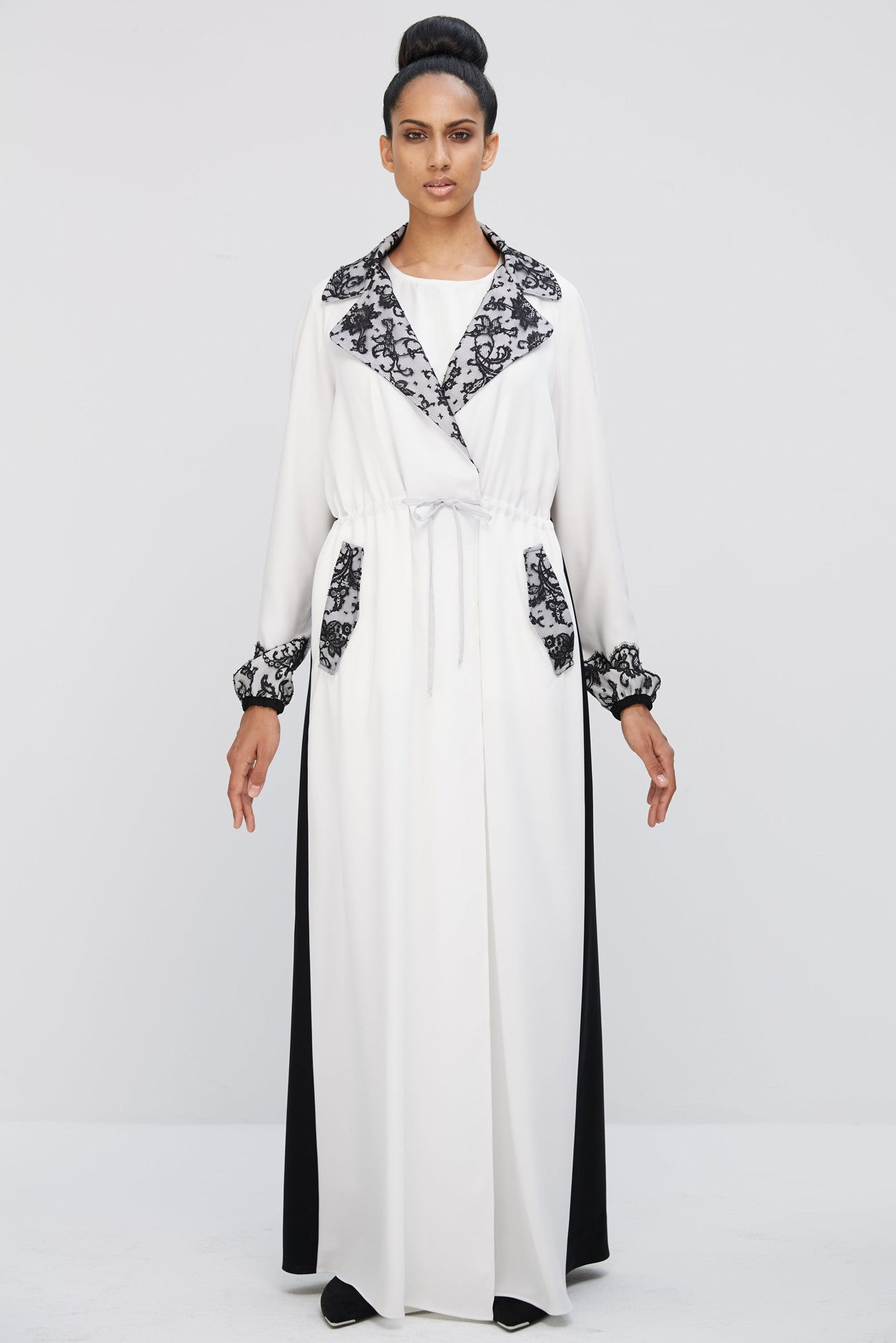 ANGELICA - AMM1895Z - Arabesque coat style abaya with pockets. French Chantilly lace on collar, pockets, sleeve end.