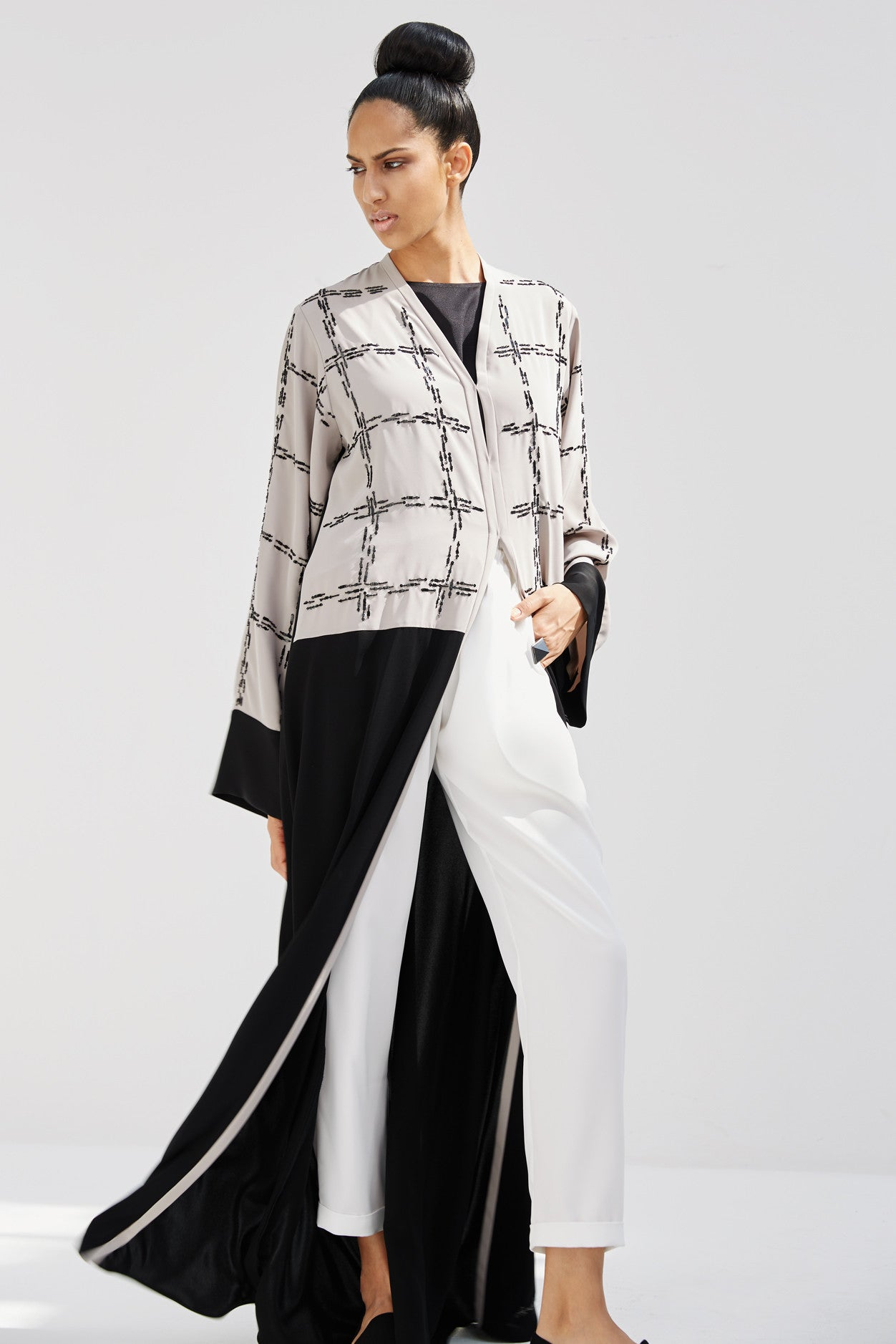 OPHELIA - ACR1917A - Arabesque classic cut abaya with graphic motif, beads and sequences embroidery on bust and sleeves.
