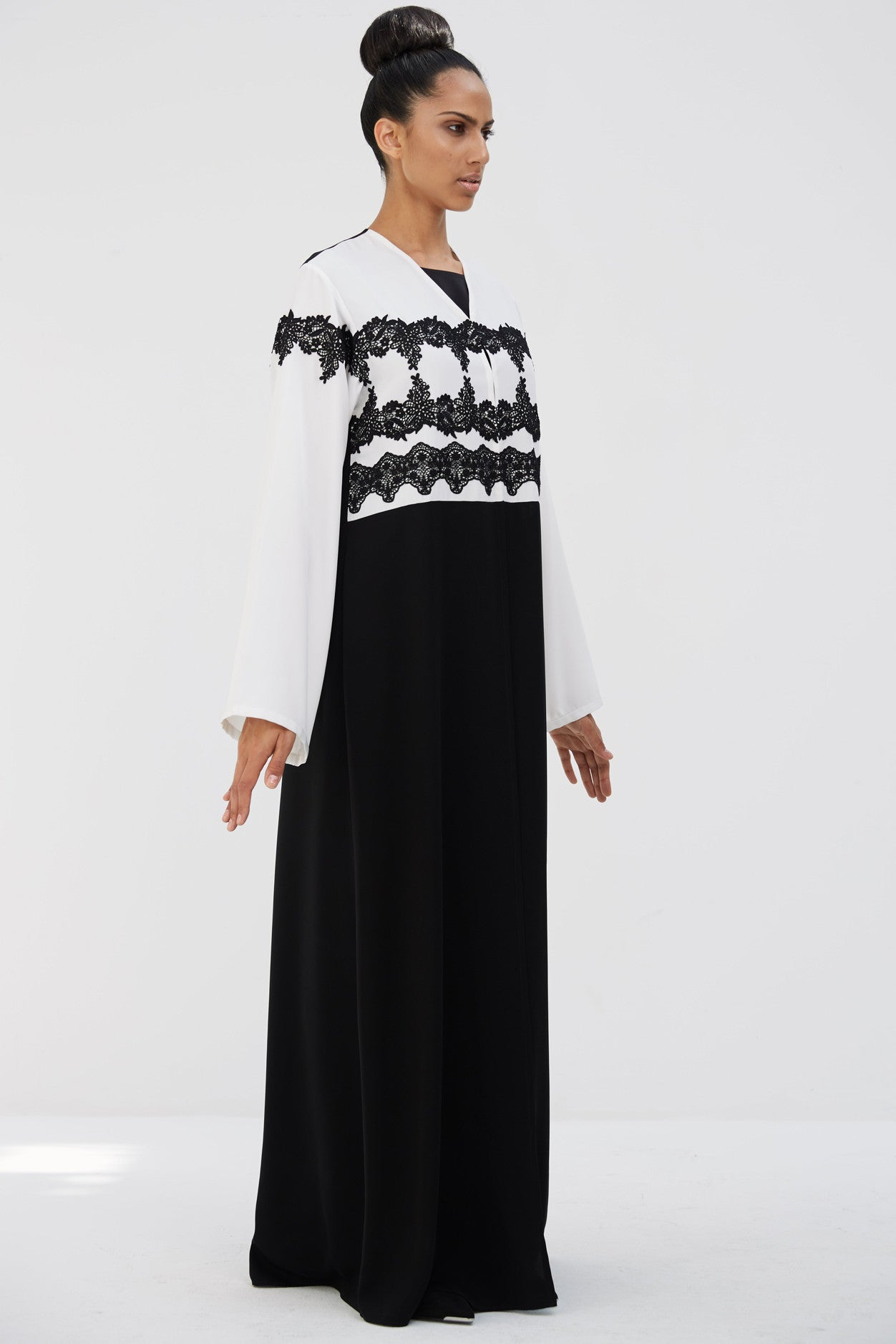 LILI - ACR1903Z - Arabesque classic cut abaya with multiple lines of flower guipure borders on bust.