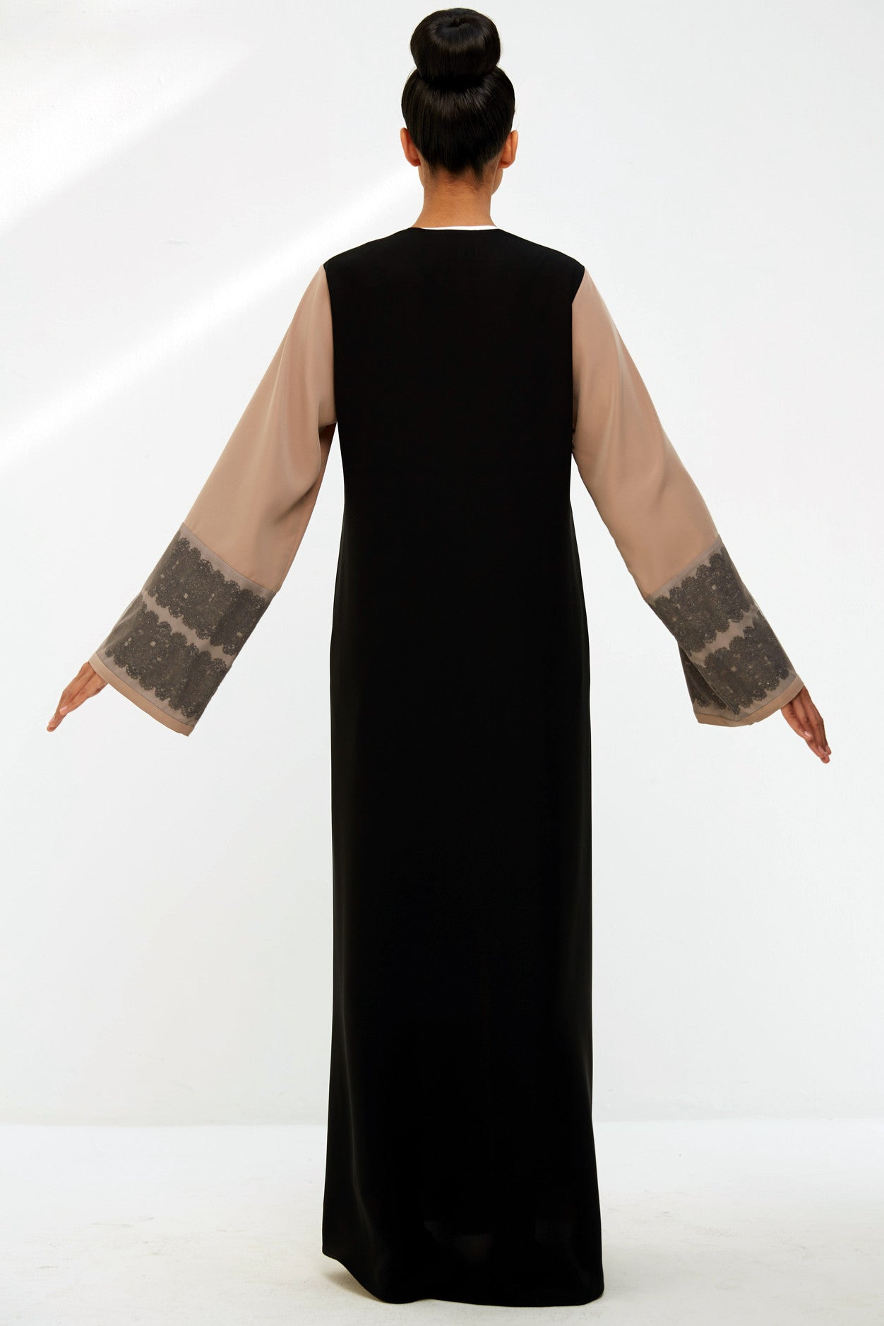 JULIETTE - ACR1909Z - Arabesque classic cut abaya with multiple lines  of graphic lace on front body and sleeves.