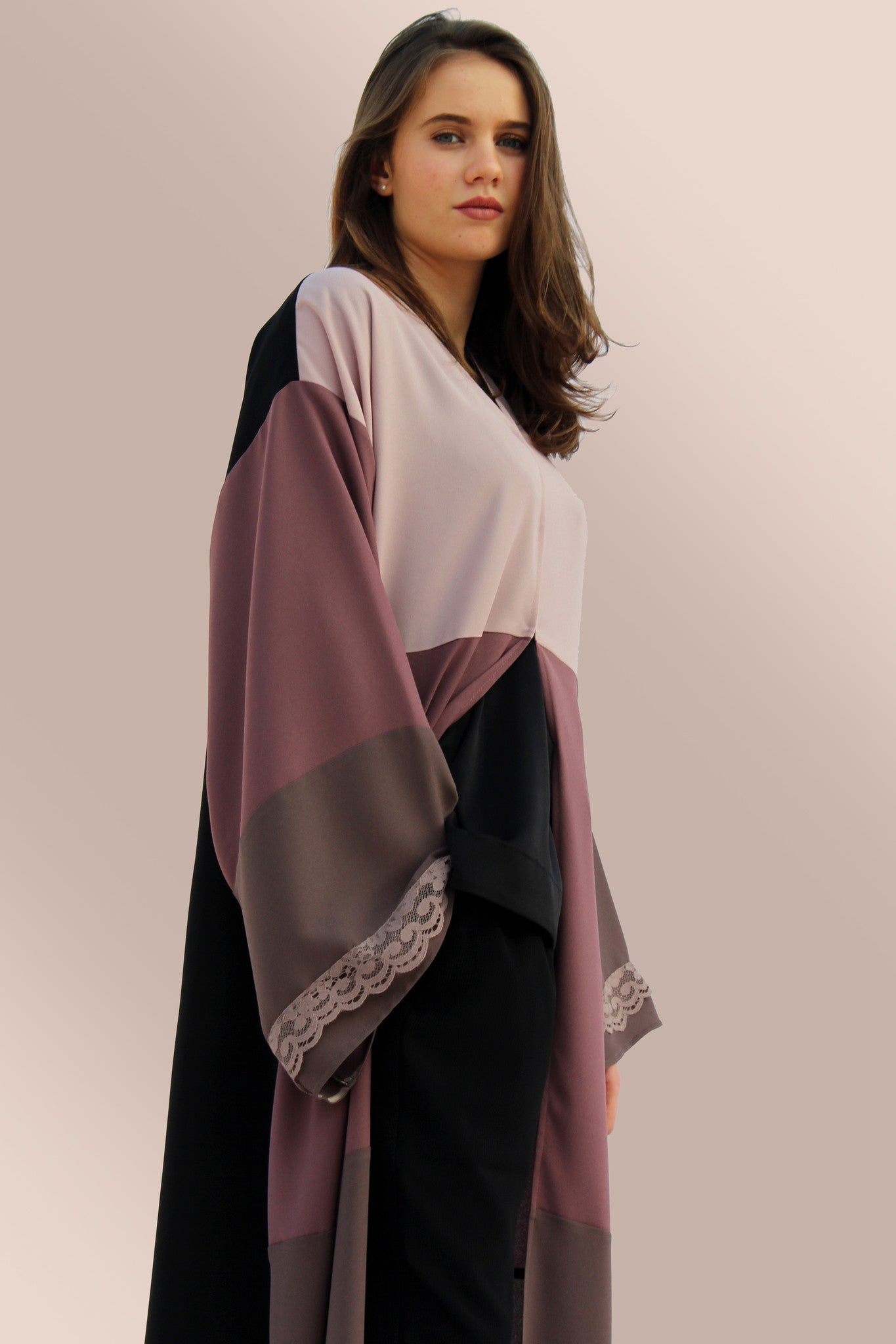 ALYSSA - ACC2100Z - Arabesque Kimono Drop-shoulder shape. Abaya Front in 3 shades of fabrics + Back in plain black + Sleeves in 2 shades of fabrics embellished with lace on sleeve end.